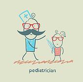pediatrician checks the child's temperature