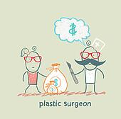 plastic surgeon thinks about money and takes a bag of money in the patient