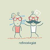 reflexologist works with a patient with needles