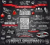 2014 Christmas Vintage typograph design elements: