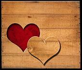 Heart Shape cut on Old Wooden Boards