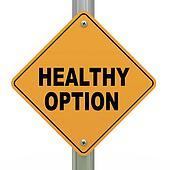 3d road sign healthy option