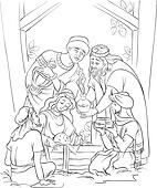 Jesus and the Three Kings in manger