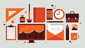 Set of office tools illustration