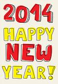 Happy New Year 2014 vector wish