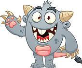 Cartoon gray monster