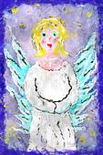 Illustration holy angel with wings