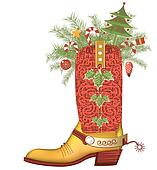 Christmas cowboy boot.Luxury shoe isolated on white