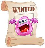 A pink monster in a wanted poster