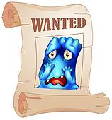 A wanted blue monster in a poster
