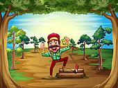 A cheerful lumberjack in the middle of the trees