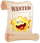 A wanted monster in a poster