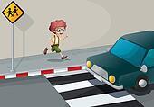 A boy running near the pedestrian lane