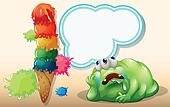 A fat green monster lying down near the giant icecream