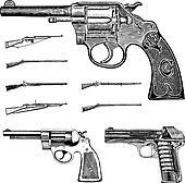 Vector Clipart Vintage Pistol Gun and Rifle Set