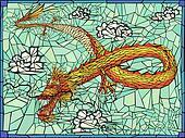 Vector illustration of gold dragon.