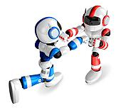 The Blue robots and Red robot boxing matches. Create 3D Humanoid Robot Series.