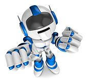 Blue Robot Character and a boxing play. Create 3D Humanoid Robot Series.