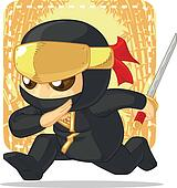 Cartoon of Ninja Holding Japanese S
