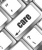Health care computer keyboard key