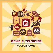 colorful cinema icons