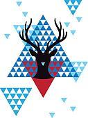 Christmas deer geometric pattern
