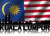 Kuala Lumpur skyline and text reflected with rippled Malaysian flag illustration
