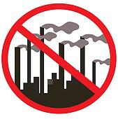 Prohibition signs. Factory, plant, smoke from the chimneys. Vector illustration.