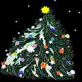 Christmas tree on black background. Vector illustration.