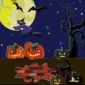 Halloween background. Halloween night background with dead tree, halloween pumpkin and witch silhouette.