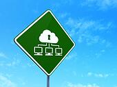 Safety concept: Cloud Network on road sign background