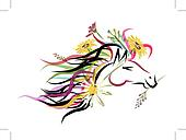 Horse head sketch with floral decoration for your design. Symbol of 2014 year