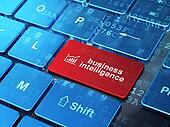 Business concept: Growth Graph and Business Intelligence on computer keyboard background