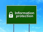 Safety concept: Information Protection and Closed Padlock on road sign background