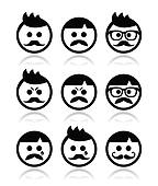 Man with moustache or mustache icon
