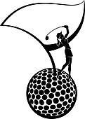 Female Golfer on Ball & Flag