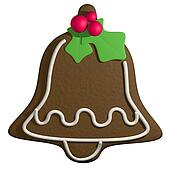 Gingerbread 3D cartoon christmas bell with holly