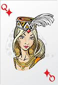 Queen of diamonds. Deck romantic graphics cards