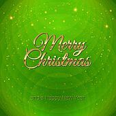 Golden Merry Christmas headline on green background.