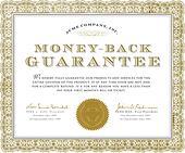 Vector Money Back Guarantee Certificate