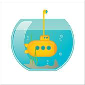 Fishbowl with a yellow submarine