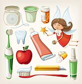 Set of items for teeth health