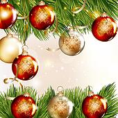 Christmas background with baubles and fir branches
