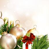Christmas background with baubles, fir branches and clear space