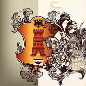 Heraldic design element in vintage