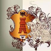 Heraldic design element in vintage style