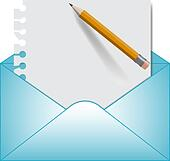 Letter and open envelope. Vector