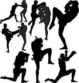 Muay Thai vector silhouettes