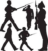 Soldiers vector silhouettes