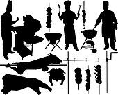 Barbecue vector silhouettes